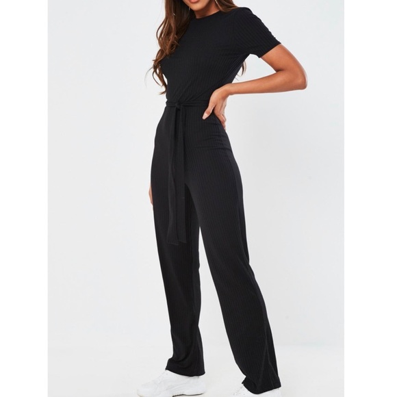 Missguided Pants - NWT-Ribbed short sleeve wide leg jumpsuit
